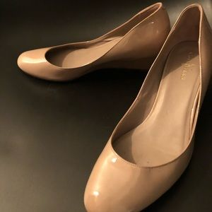 Cole Haan Patent Nude Almond Tow Wedge 7